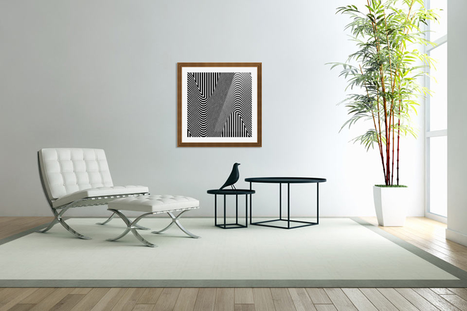 Black and White Abstract Geometric Design 1 in Custom Picture Frame