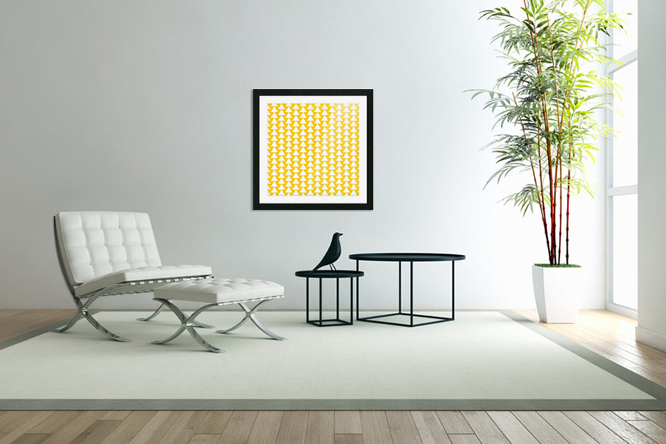 Yellow  White triangle in Custom Picture Frame
