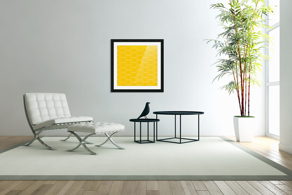 Yellow  White Hexagen in Custom Picture Frame