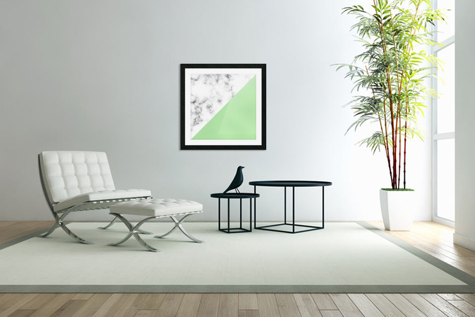 ABSTRACT MODERN GREEN GLASS MARBLE in Custom Picture Frame