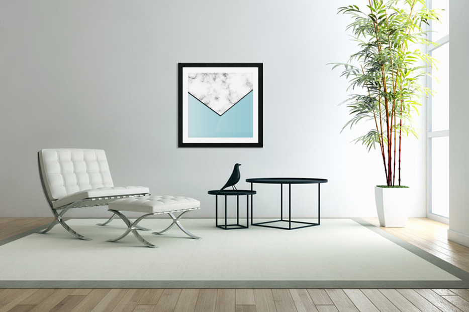 ABSTRACT BLUE TINT MODERN MARBLE in Custom Picture Frame