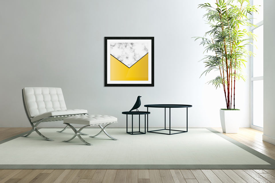 ABSTRACT YELLOW PASTEL MODERN MARBLE in Custom Picture Frame
