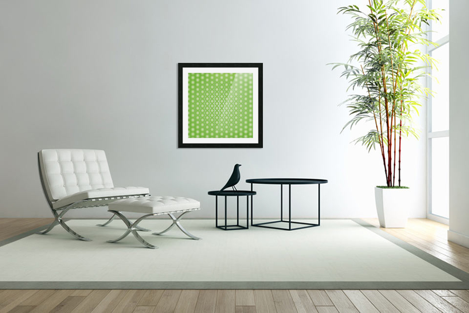 Yellow Green Pearl Pattern in Custom Picture Frame