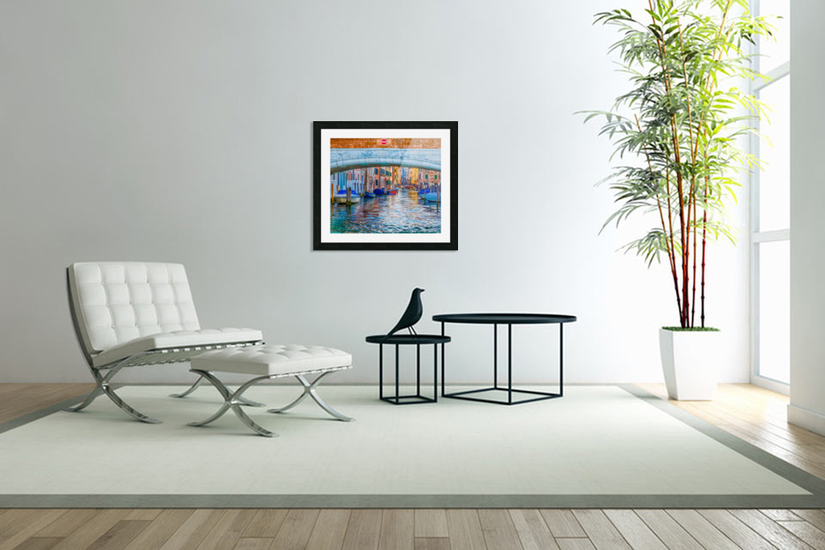 Afternoon Light in Venice Canal in Custom Picture Frame