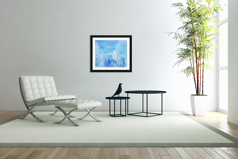 Monochromatic Blue Rocky Mountains in Custom Picture Frame