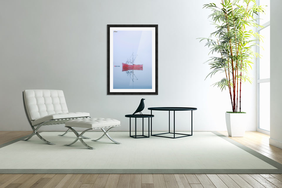 New Brunswick - fishing boat reflected in water in Custom Picture Frame
