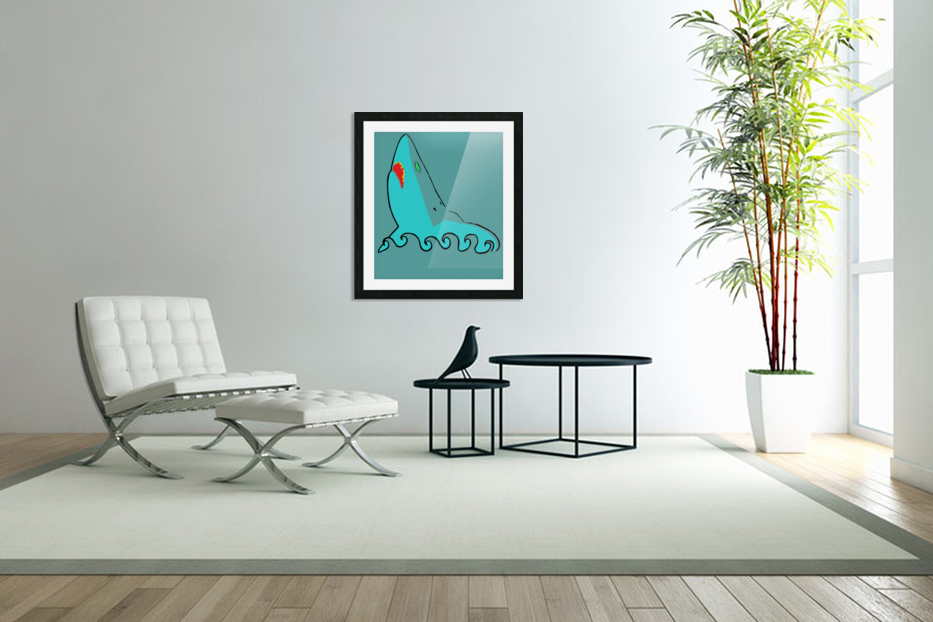 an abstract illustration of the blue shark head in blue background vector in Custom Picture Frame