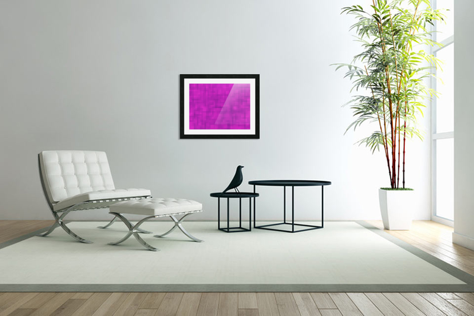 geometric square pixel pattern abstract in pink and purple in Custom Picture Frame