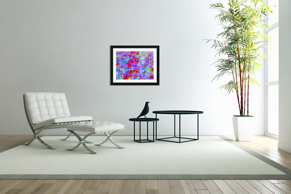 geometric square pixel pattern abstract background in blue purple pink red in Custom Picture Frame