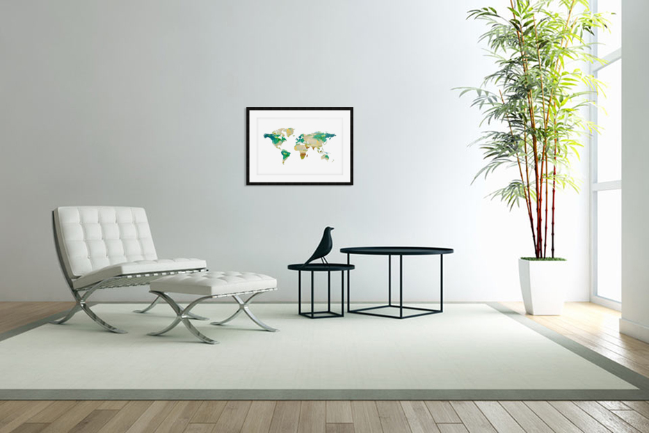 Artistic World Map I in Custom Picture Frame
