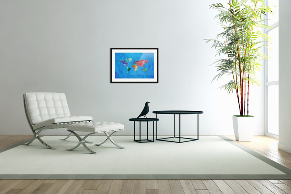 Artistic World Map III in Custom Picture Frame
