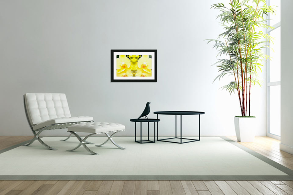 Yellow Orchid Pattern in Custom Picture Frame