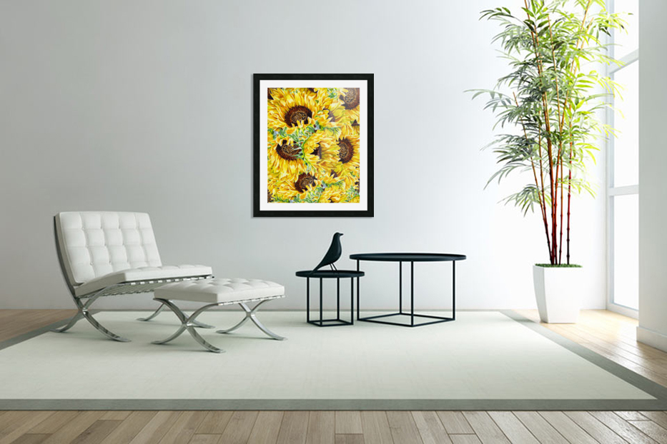 The Filed Of Watercolor Sunflowers Pattern in Custom Picture Frame