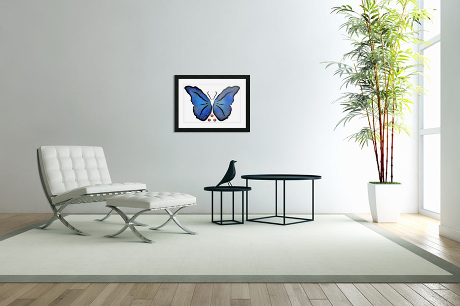 Deonioro - deep blue night butterfly with pearls in Custom Picture Frame