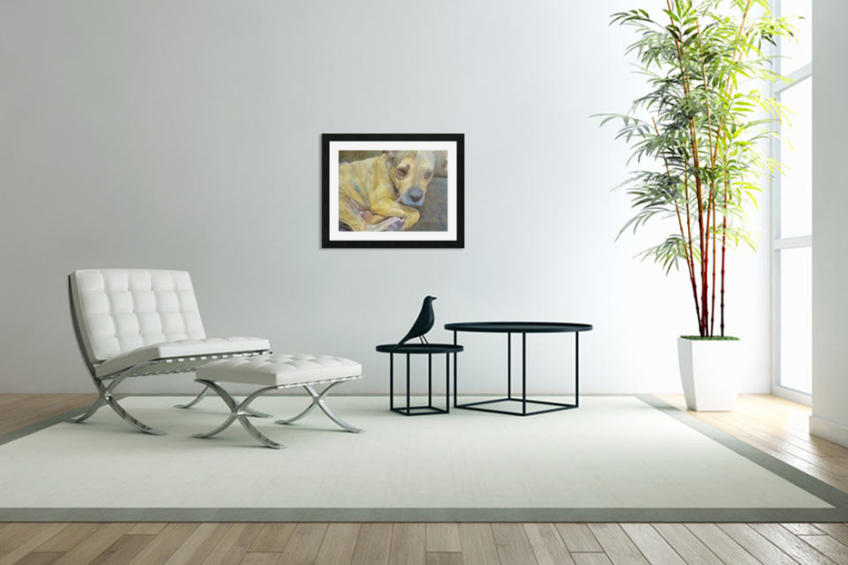 Watercolor dog painting in Custom Picture Frame