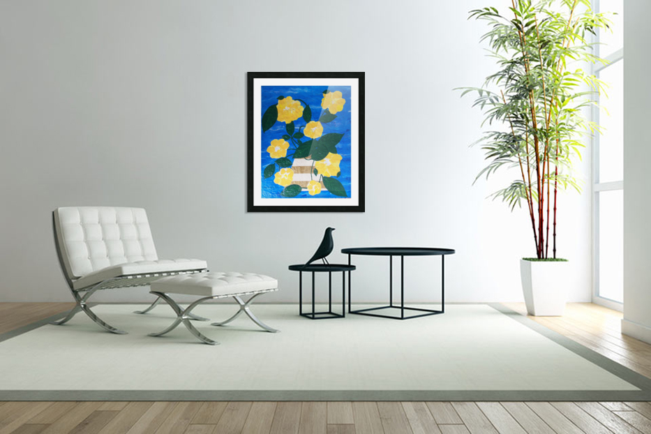 Yellow flowers in vase  in Custom Picture Frame