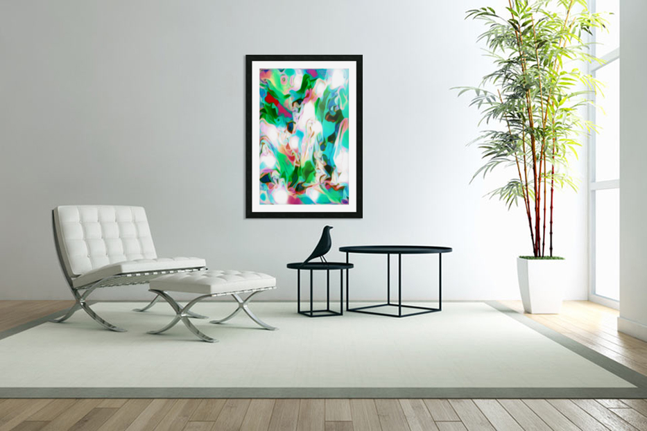 Waterfall vertical - multicolor abstract swirls in Custom Picture Frame