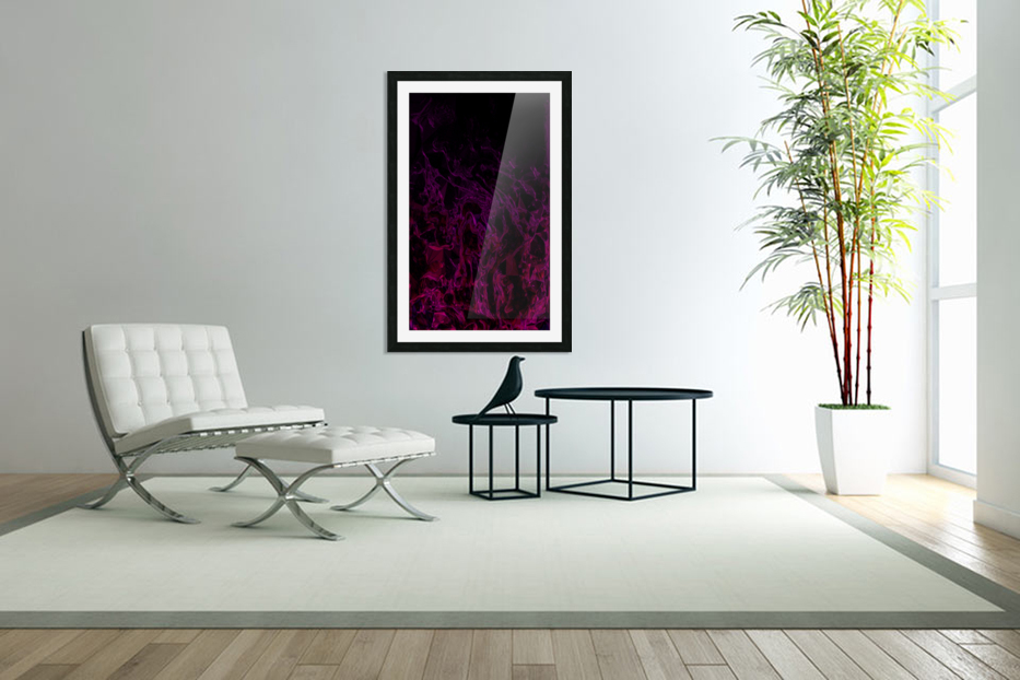 Drowning In Rubies -red hot pink black gradient abstract polygons and swirls in Custom Picture Frame