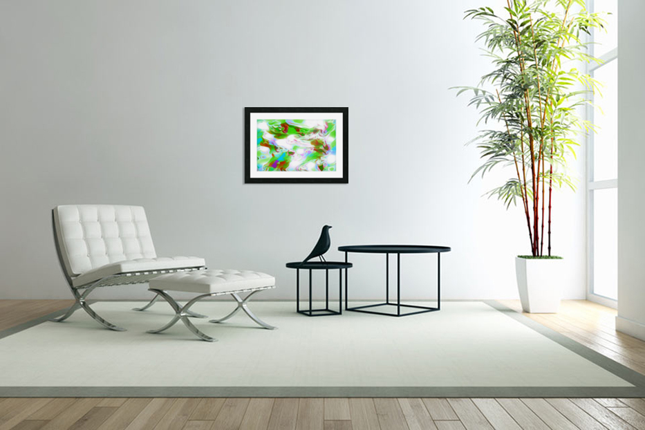 Green Glass Window - multicolor green abstract swirl wall art in Custom Picture Frame