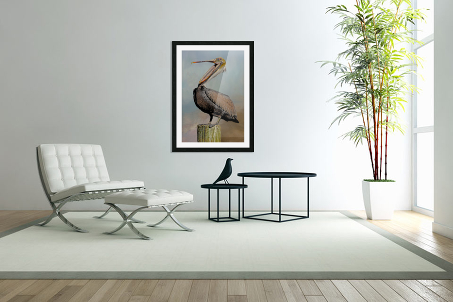 Belly Laugh-Brown Pelican  in Custom Picture Frame