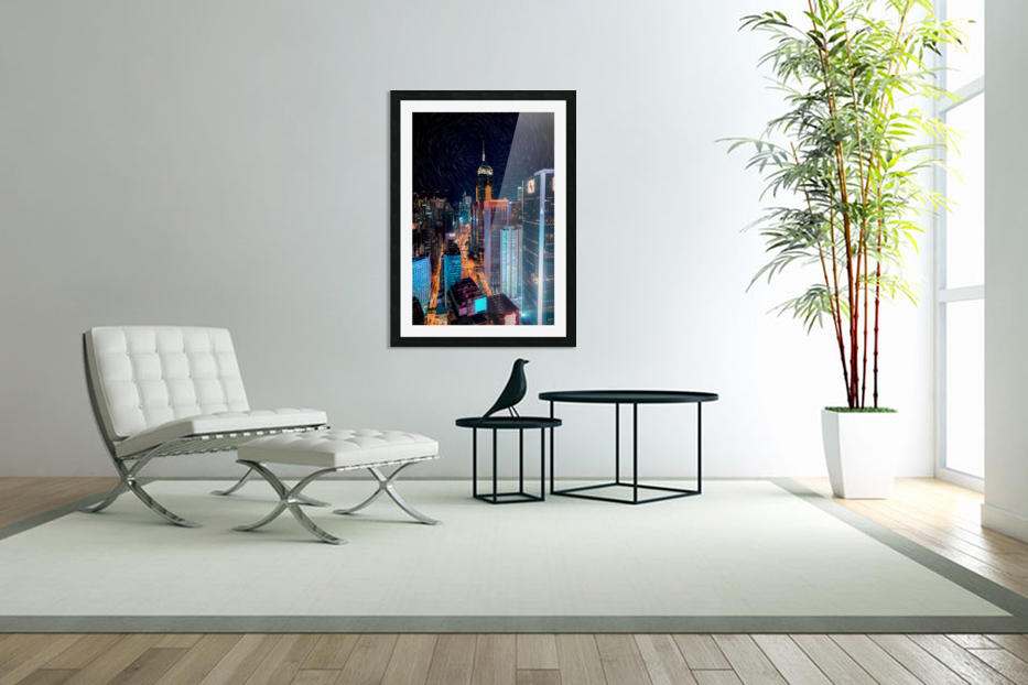 high rise buildings with lights in Custom Picture Frame