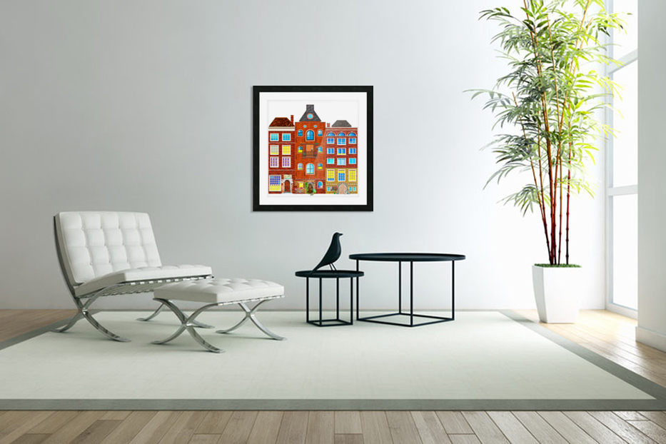 town buildings old brick building in Custom Picture Frame