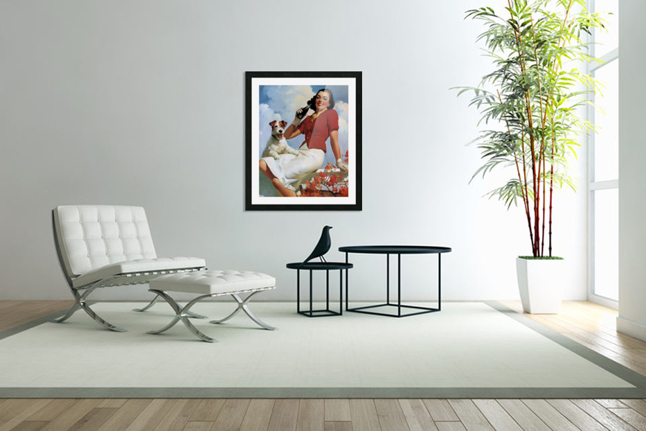 vintage poster soda woman and dog in Custom Picture Frame