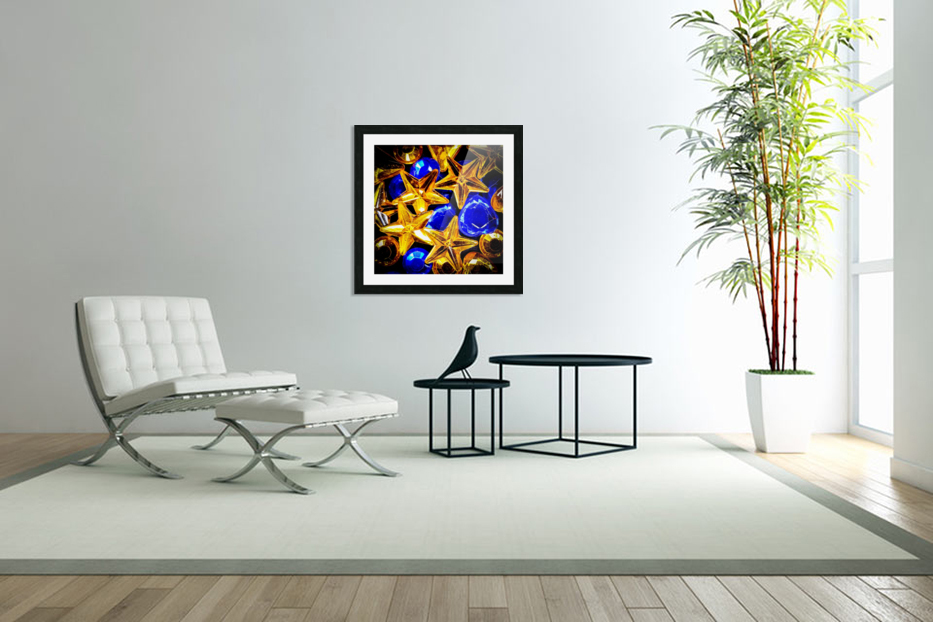 Blue and Gold Plastic Jewels in Custom Picture Frame