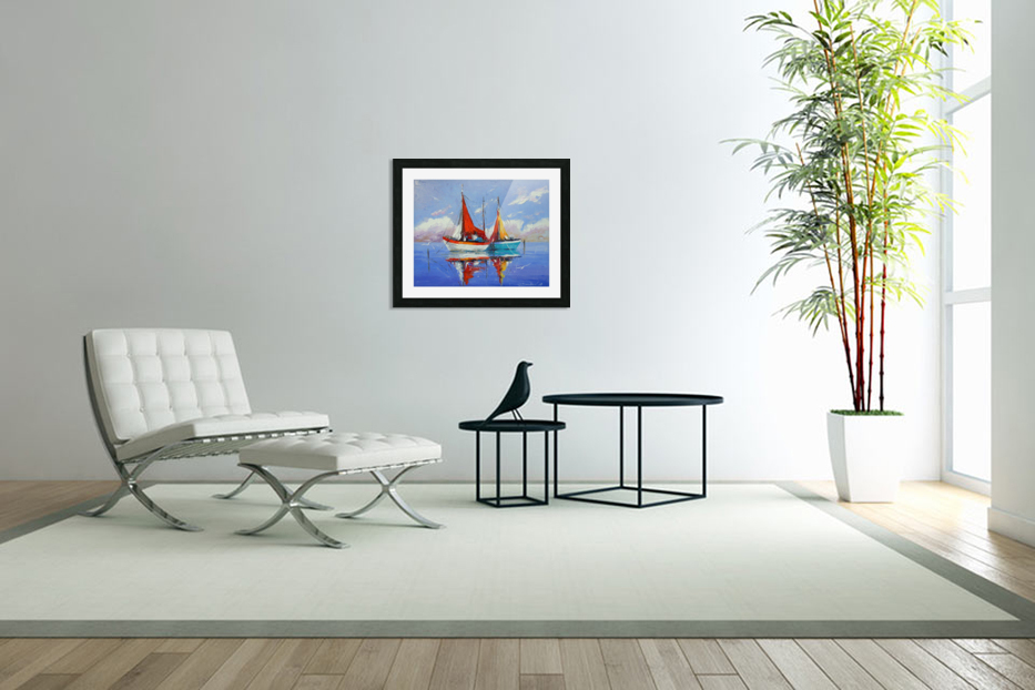 Sailboats in the sea in Custom Picture Frame
