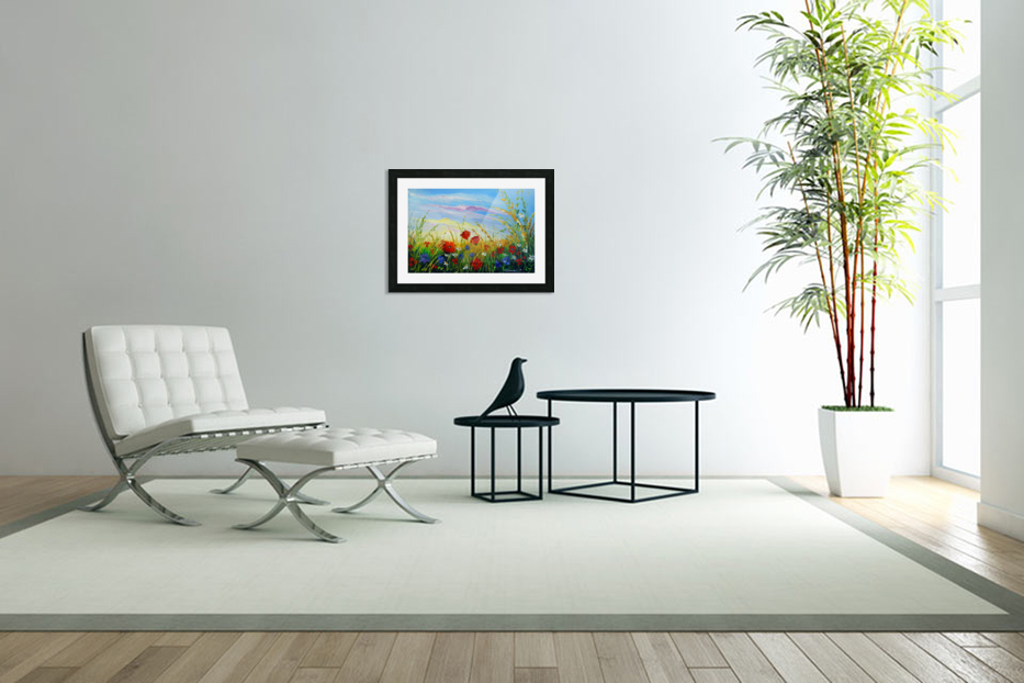 Summer flowers in the oil painting field in Custom Picture Frame