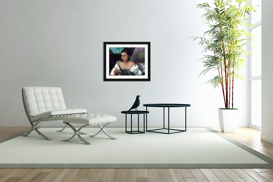 Spanish Lady With A Rose in Custom Picture Frame