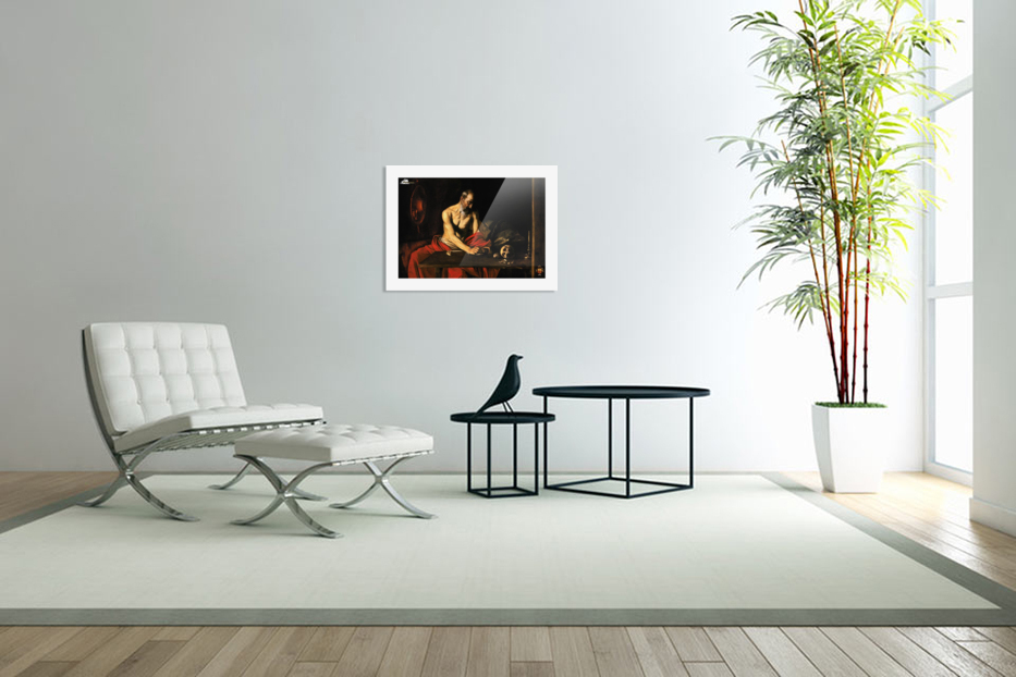 Saint Jerome writing in Custom Picture Frame