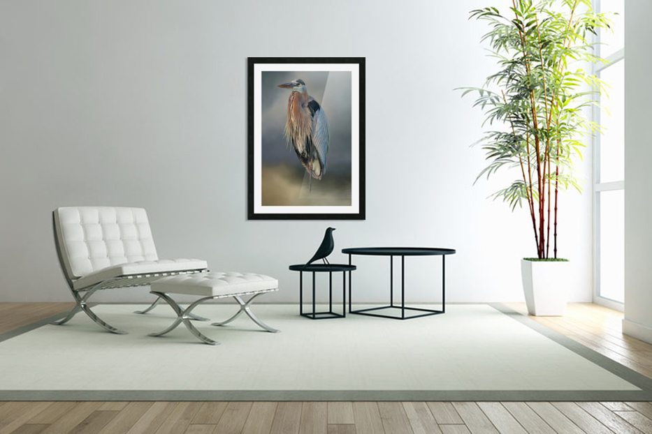 Great Blue Heron At Rest in Custom Picture Frame