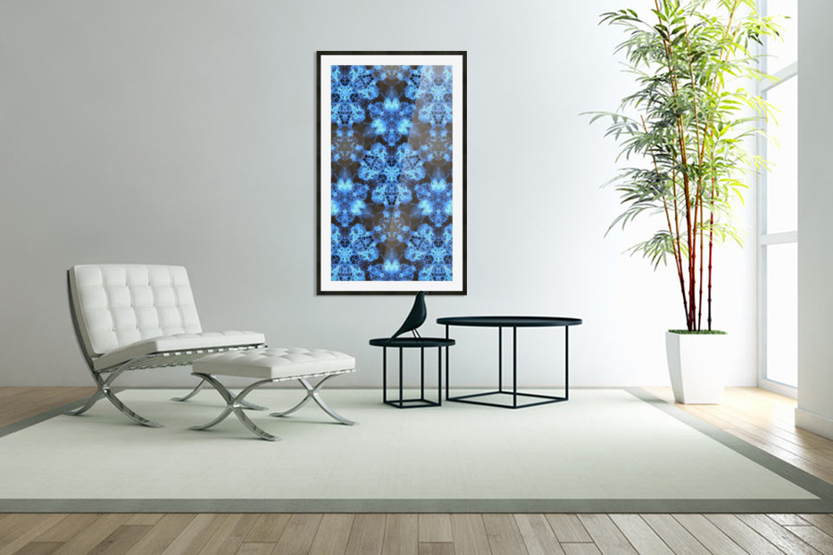Kaleidoscope Burst of Blue  in Custom Picture Frame