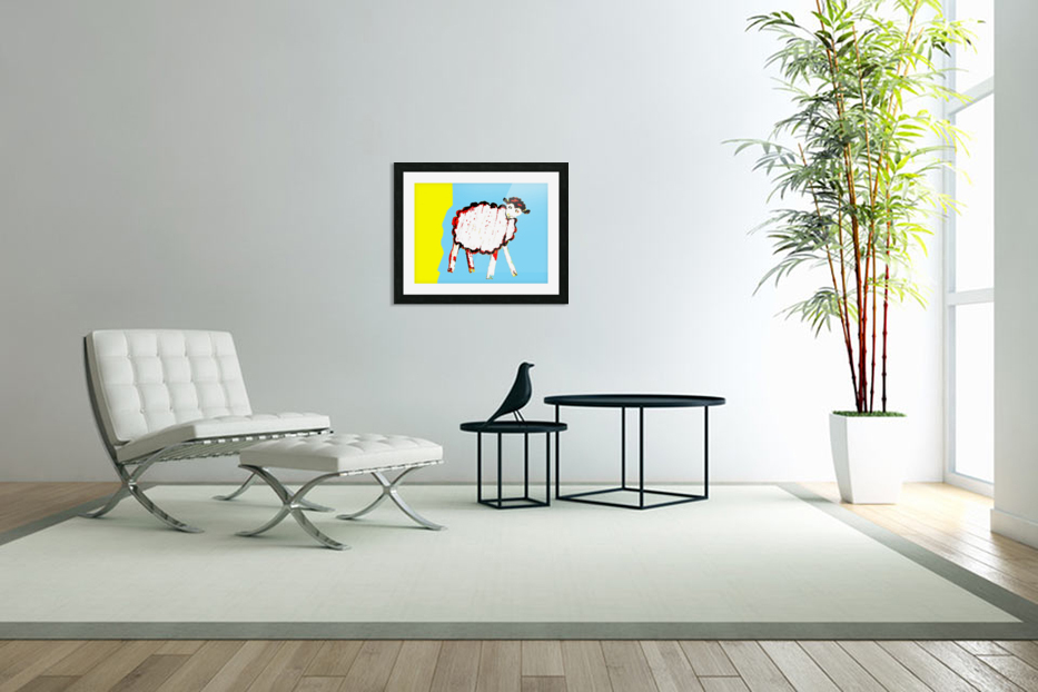 Little Aussie Sheep - Blue in Custom Picture Frame