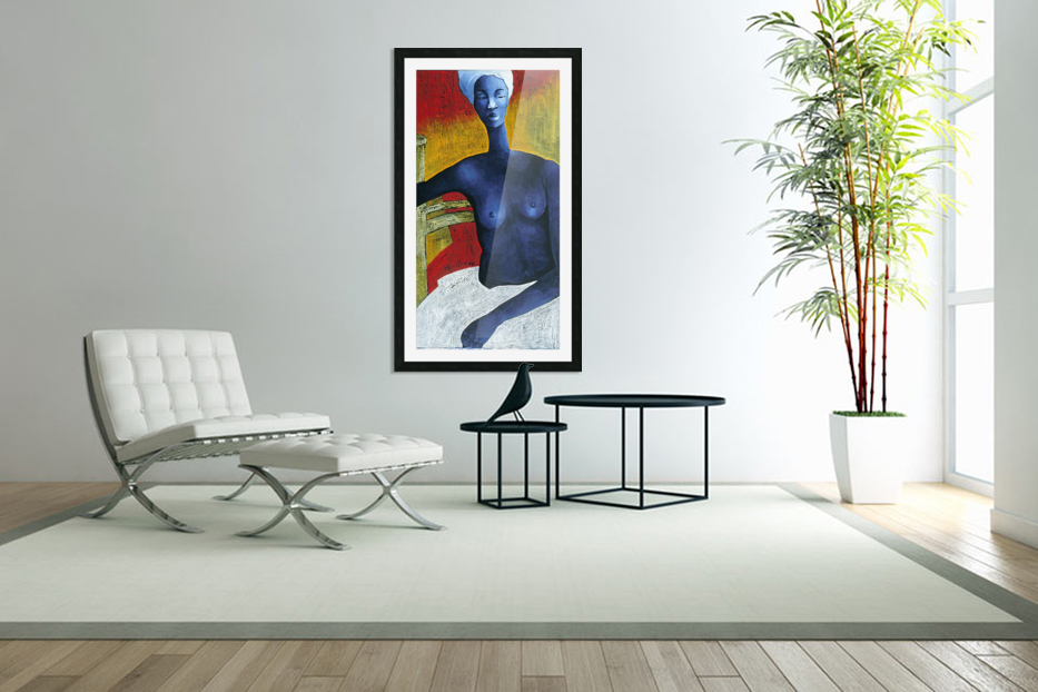 Blue Nude Woman in Custom Picture Frame