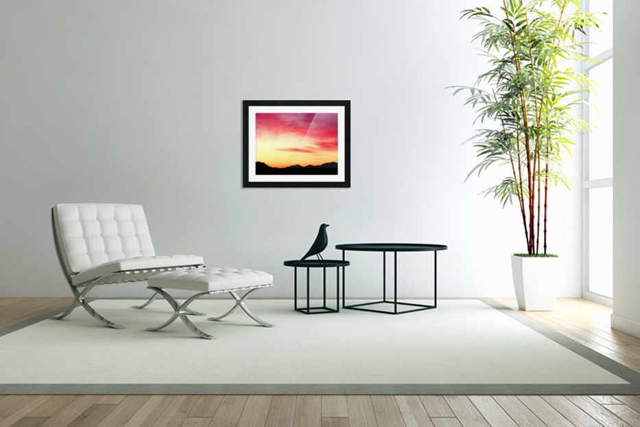Colorful Dusk Mountain view in Custom Picture Frame