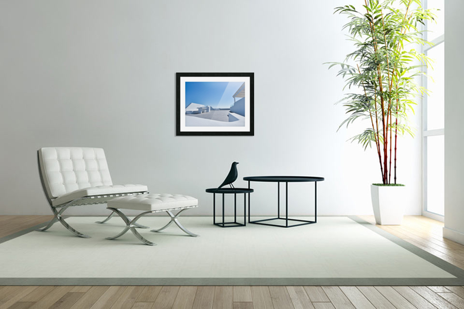 Cyclades White Architecture Design in Custom Picture Frame
