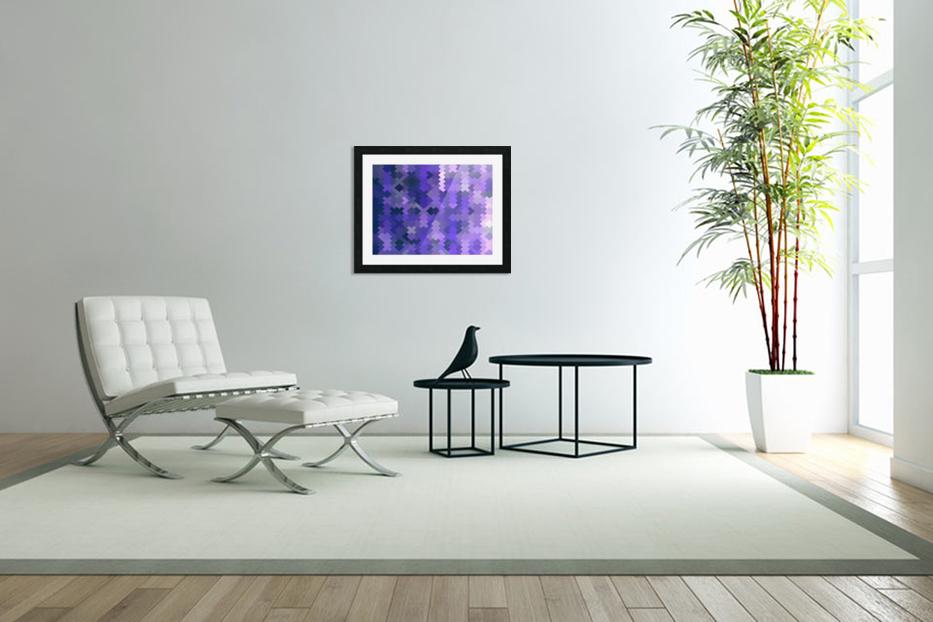 geometric square pixel pattern abstract in purple in Custom Picture Frame