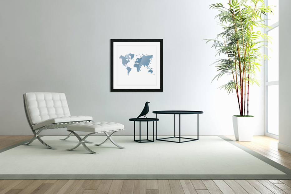 GREY WORLD MAP in Custom Picture Frame