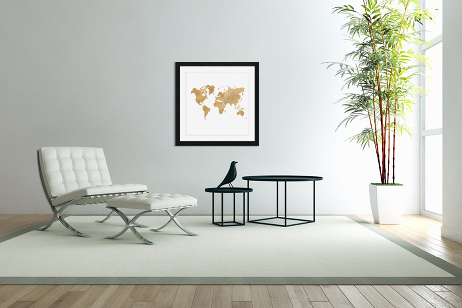 GOLD GLITTER WORLD MAP in Custom Picture Frame