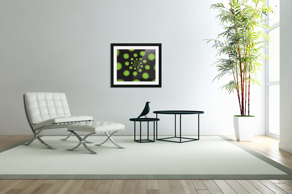 Green Spiral Dots in Custom Picture Frame
