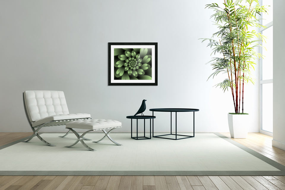 Green Floral Satin Wallpaper in Custom Picture Frame