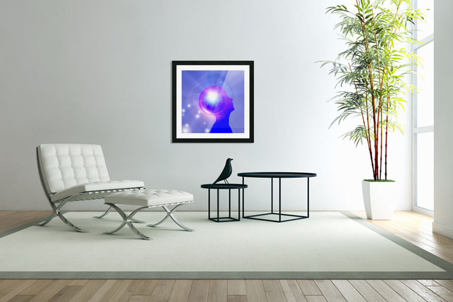 Human Head with Light in Custom Picture Frame