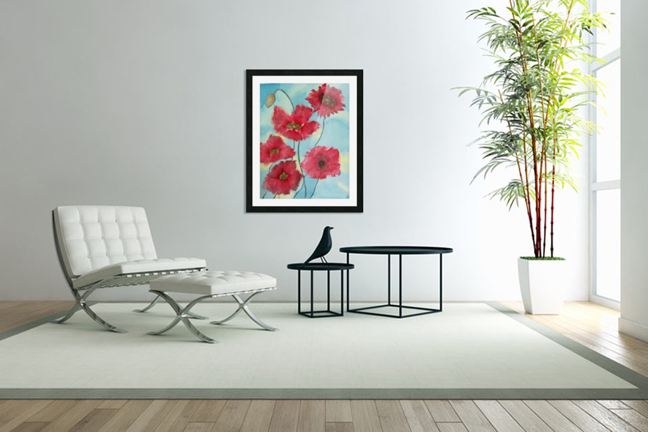 Poppies in Custom Picture Frame