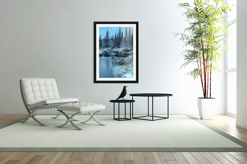 River and snow in Custom Picture Frame