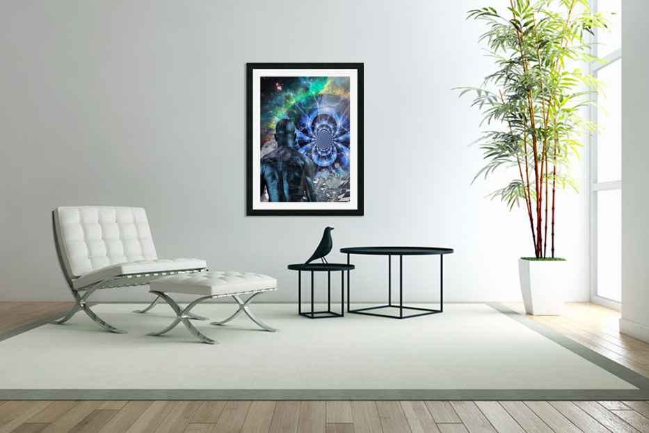 Cyborg in Surreal Space in Custom Picture Frame