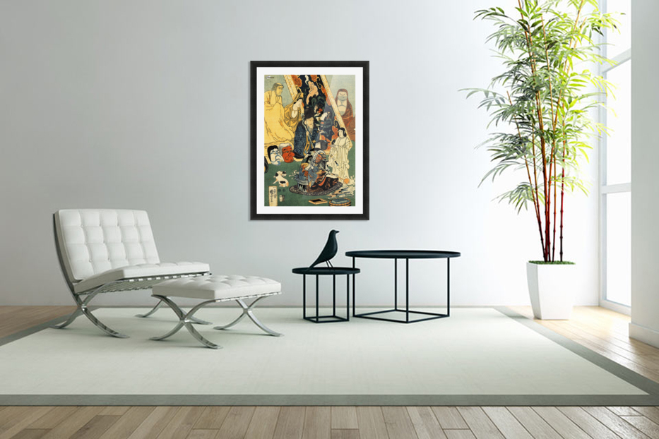 Sculptor Jingoro surrounded by statues in Custom Picture Frame