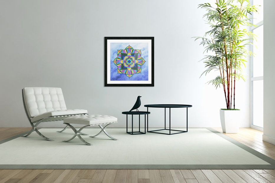 Hand Painted Mandala Watercolor Meditation on Blue in Custom Picture Frame