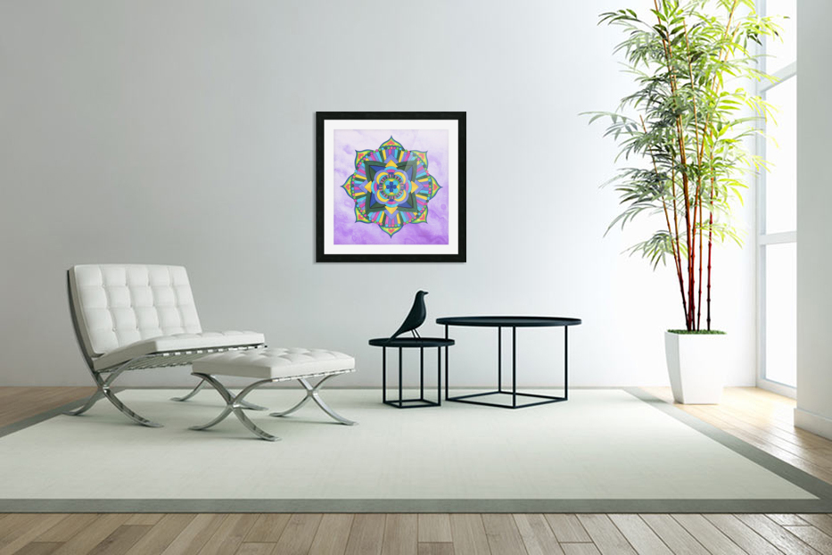 Hand Painted Mandala Watercolor Meditation on Purple in Custom Picture Frame
